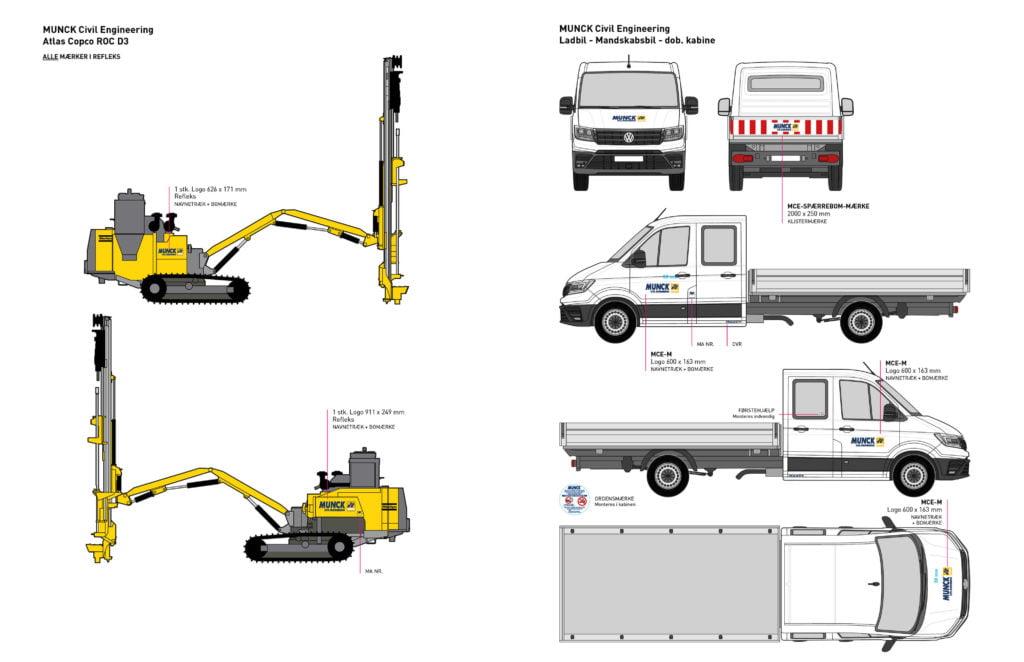 Grafisk layout og design af firmanavn og reklamer på maskiner og biler